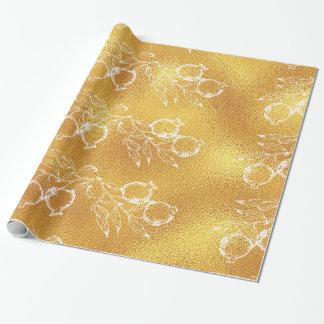 Papel De Presente Natal festivo da romã da textura dourada