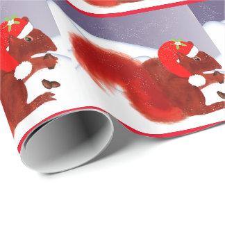 Papel De Presente Natal nevado bonito do esquilo vermelho