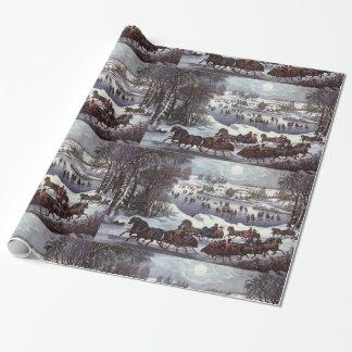 Papel De Presente Natal vintage, Central Park no inverno