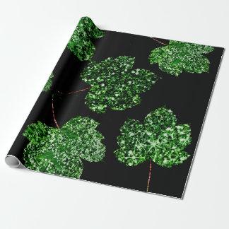 Papel De Presente Natureza botânica preta verde tropical da folha de
