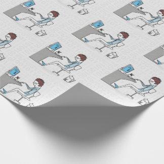 Papel De Presente Nerd azul e cinzento engraçado do computador com