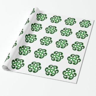 Papel De Presente Nó celta verde escuro