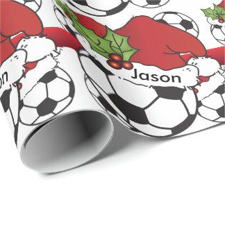 Papel De Presente Nome da bola de futebol | do Natal do chapéu do
