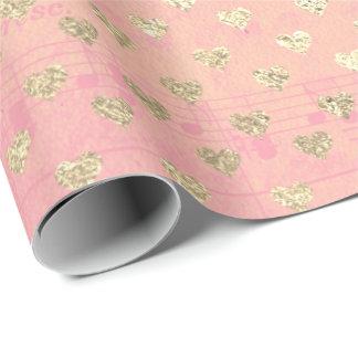Papel De Presente Notas Pastel da música do rosa do rosa do rosa do
