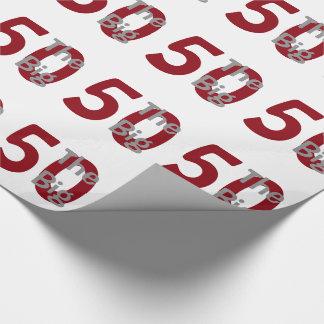 """Papel De Presente O """"50"""" grande, aniversário, vermelho, texto branco"""