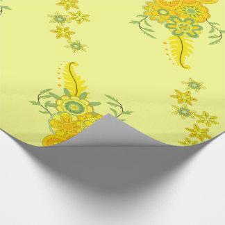 Papel De Presente O amarelo bonito floresce a peça central