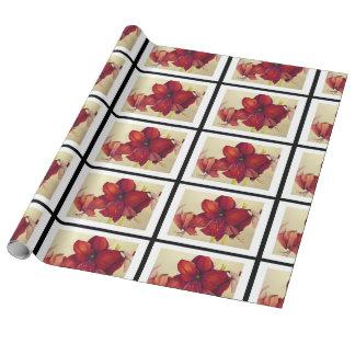 Papel De Presente O Amaryllis vermelho do Natal telhou o papel de