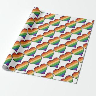 Papel De Presente O amor de LGBT é coração do arco-íris do amor