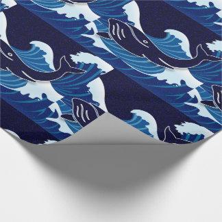 Papel De Presente O azul bonito acena com baleias da natação