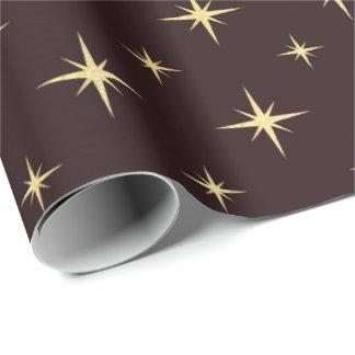 Papel De Presente O chocolate de bronze do café do ouro Stars