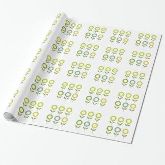 Papel De Presente O design floresce o verde no branco