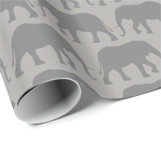 Papel De Presente O elefante africano mostra em silhueta o teste