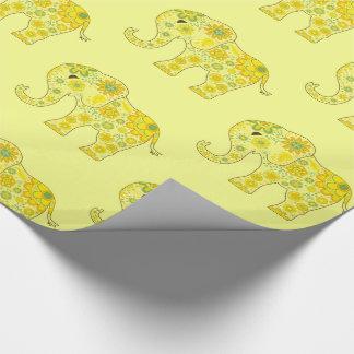 Papel De Presente O elefante floresce o amarelo