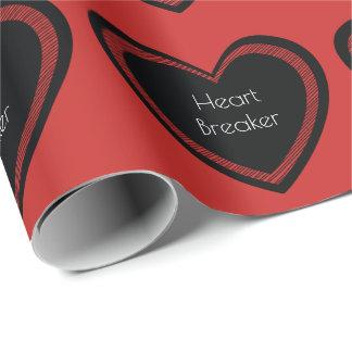 Papel De Presente O Heartbreaker vermelho e enegrece o papel de