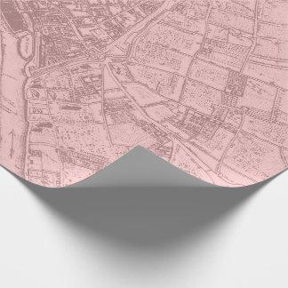 Papel De Presente O Lilac malva de Paris do plano velho cora Mapa