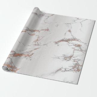 Papel De Presente O mármore cinzento do rosa de prata do metal