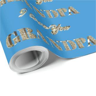 Papel De Presente O ouro azul do vovô eu te amo Sparkles tipografia