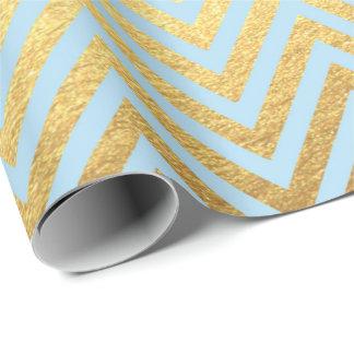 Papel De Presente O ouro azul listra linhas Pastel de Chevron do