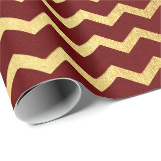 Papel De Presente O ouro de Borgonha listra linhas ziguezague