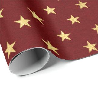 Papel De Presente O ouro marrom vermelho de Borgonha Stars feriados