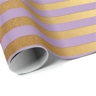 Papel De Presente O ouro roxo da ameixa de Lavande listra as linhas