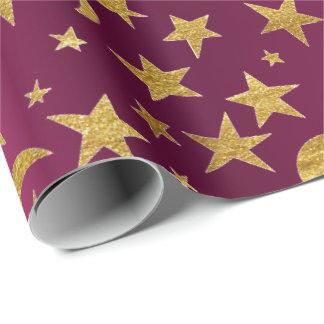 Papel De Presente O ouro Stars doces metálicos do rosa da framboesa