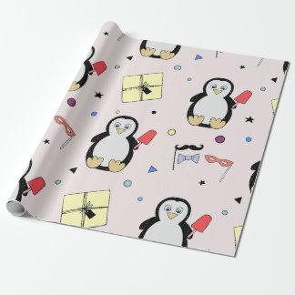 Papel De Presente O partido do pinguim sustenta o aniversário