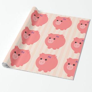 Papel De Presente O porco carnudo com rosa listra o papel de