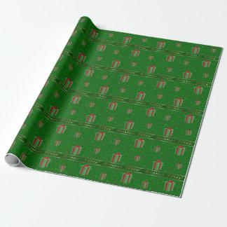 Papel De Presente O presente francês do Natal empacota o papel verde