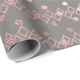 Papel De Presente O rosa cinzento étnico cora quadrado das listras