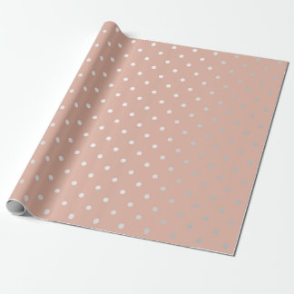 Papel De Presente O rosa de prata do pêssego dos pontos pequenos