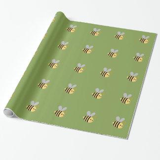 Papel De Presente O verde Bumble o papel de envolvimento da abelha