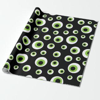 Papel De Presente O verde Eyeballs o teste padrão de | o Dia das
