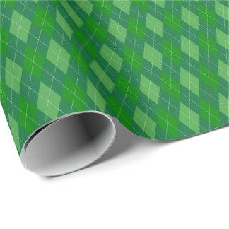 Papel De Presente O verde tonifica o papel de envolvimento de Argyle
