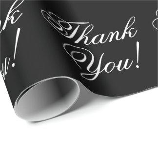 Papel De Presente Obrigado preto e branco Cursive