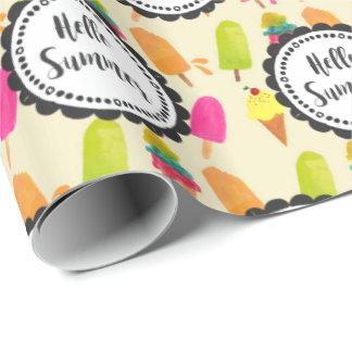 Papel De Presente Olá! Popsicles e sorvete do verão
