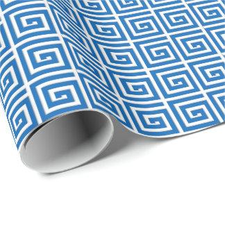 Papel De Presente Olhar azul e branco do design chave grego - do