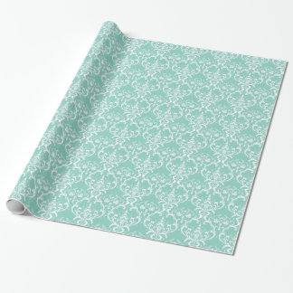 Papel De Presente Ornamentado elegante da cor damasco verde & branca