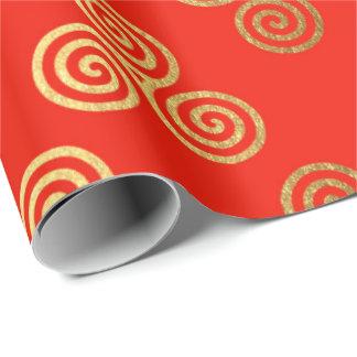 Papel De Presente Ornamento celta real dourado vermelho heráldico