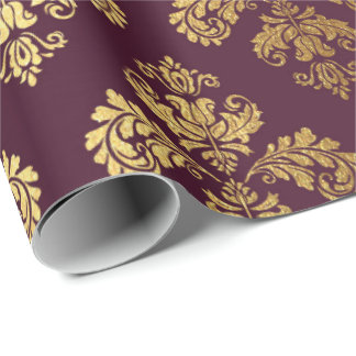 Papel De Presente Ornamento floral Borgonha do damasco real do ouro