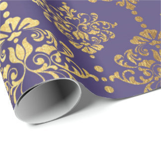 Papel De Presente Ornamento floral do damasco real roxo do ouro
