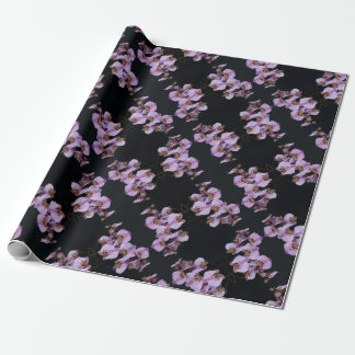 Papel De Presente Orquídeas no wrappingpaper preto