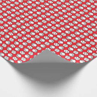 Papel De Presente Os basebol modelam no vermelho