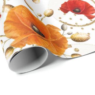 Papel De Presente Ouro branco Glam alaranjado da flor vermelha da