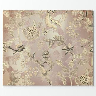 Papel De Presente Ouro cor-de-rosa floral dos leões mágicos do