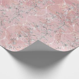 Papel De Presente Ouro de prata de mármore do rosa do rosa dos