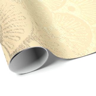 Papel De Presente Ouro geométrico dos Seashells do art deco mais