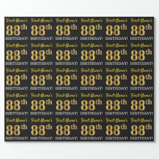"""Papel De Presente Ouro preto, de imitação """"88th ANIVERSÁRIO """""""