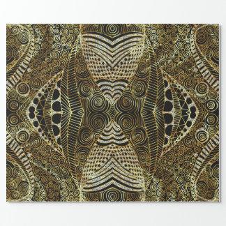 Papel De Presente Ouro & teste padrão tribal geométrico do brilho do