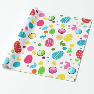 Papel De Presente Ovos da páscoa, coelhos, cupcakes e pontos